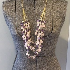 Trifari costume necklace - layered necklace - pink